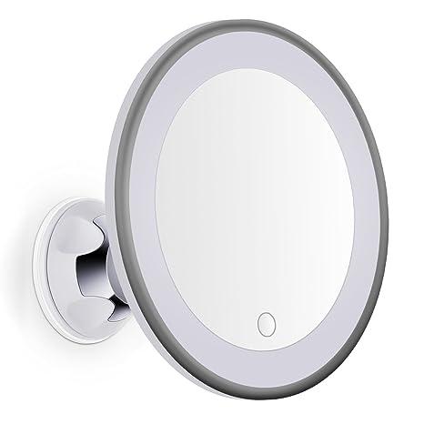 Specchi Ingranditori A Ventosa.Bornku Specchio Da Trucco Led B60 10x Specchio Ingranditore Cosmetico Illuminato Con Ventosa Schermo Tocco Dimmerabile