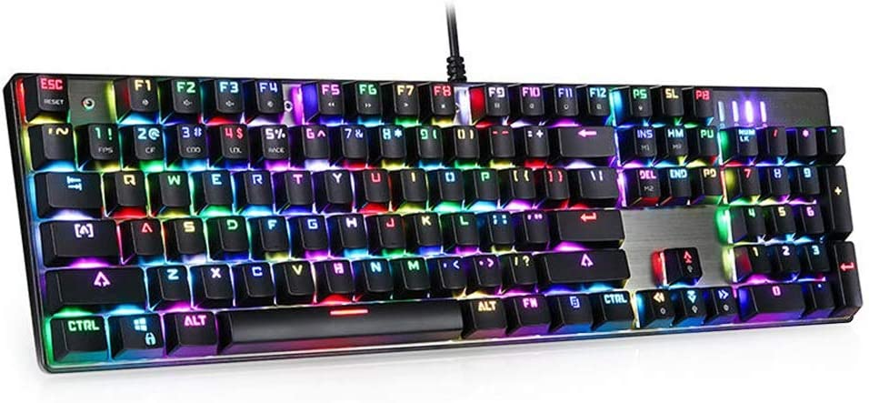CVEUE EL Keyboard 104 Key RGB Backlit Mechanical Gaming Keyboard Blue Switch for Gamers Officers Gaming Keyboard Color : Gray, Size : One Size