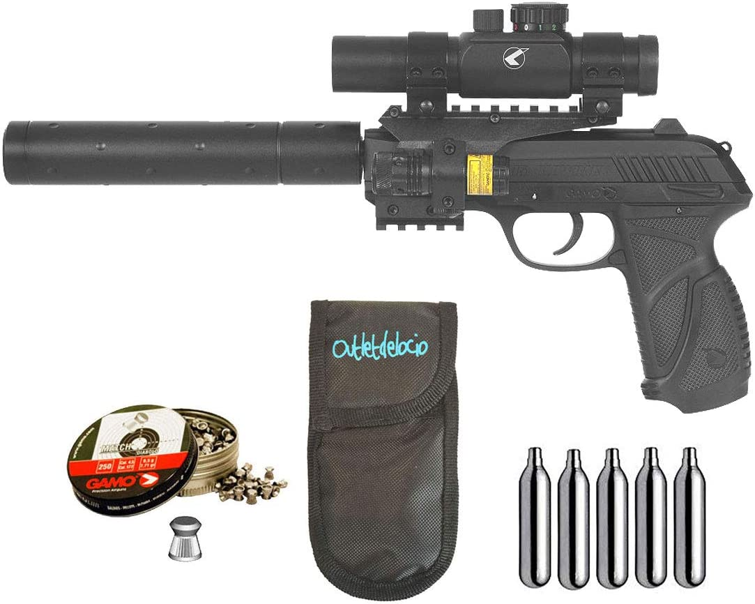 Outletdelocio. Pack Pistola Perdigón Gamo PT-85 Tactical Blowback. 4.5mm + Funda + balines + co2. 29318/38203/23054