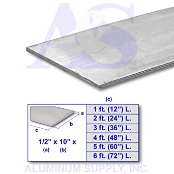6061 6 Ft Al Flat Stock 1//8 x 2 In