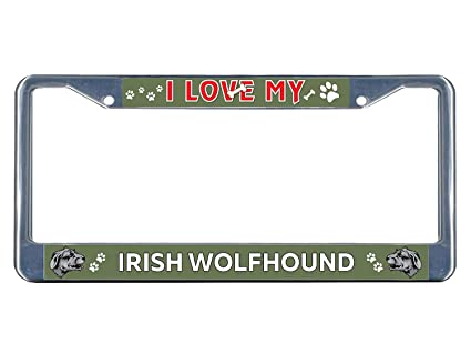 Irish Wolfhound Dog I love Chrome Metal License Plate Frame Tag Border