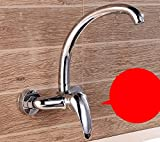 AWXJX Sink Taps kitchen copper Rotating Hot and cold Into the wall balcony Single handle Double hole