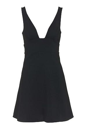 Topshop Flippy Plunge Square Neck Skater Cut-out Sexy Black Dress (UK 12)