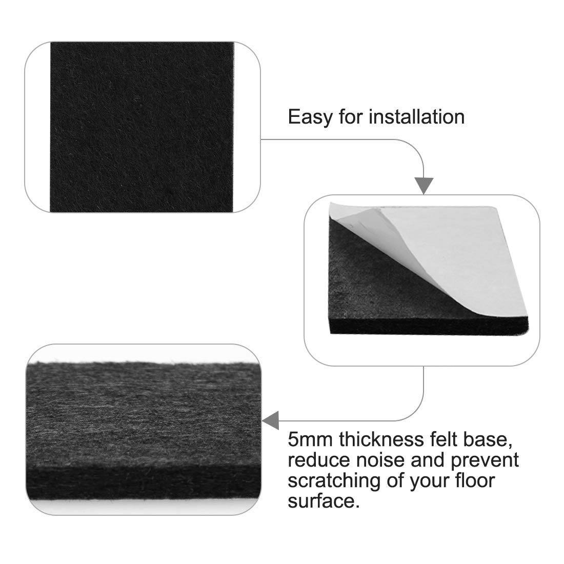 sourcing map 8pcs Furniture Felt Pads Square 1 Self-Stick Anti-Scratch Pads for Sofa Table Chair Feet Floor Protector Black