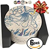 Enkore Ceramic Coasters - Set of 6 Absorbent Natural Stoneware In A Deluxe Wooden Holder - Modern & Functional - Octopus on Antique World Map Design