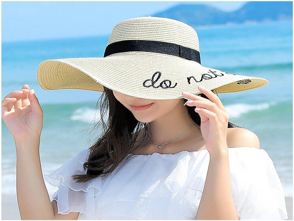 Aszune Women Sun Hat with Embroidered Phrase Do Not Disturb Straw Hat for Beach Sunhat20180310-2-FBM03