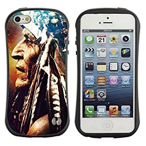 Hybrid Anti-Shock Bumper Case for Apple iPhone 5 5S / Cool Indian Art