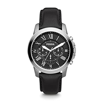 d692e924c853 Amazon.com  Fossil Men s Grant Quartz Stainless Steel and Leather Chronograph  Watch