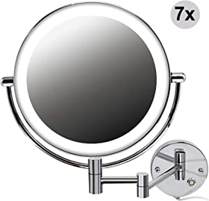 Jolitac 8.5 Inch LED Makeup Mirror Wall Mount, 7X/1X Magnification Chrome Personal Make Up Mirror Round Shaped, Double-Sided Swivel Vanity Mirror Touch Button Adjustable Light in Bedroom or Bathroom