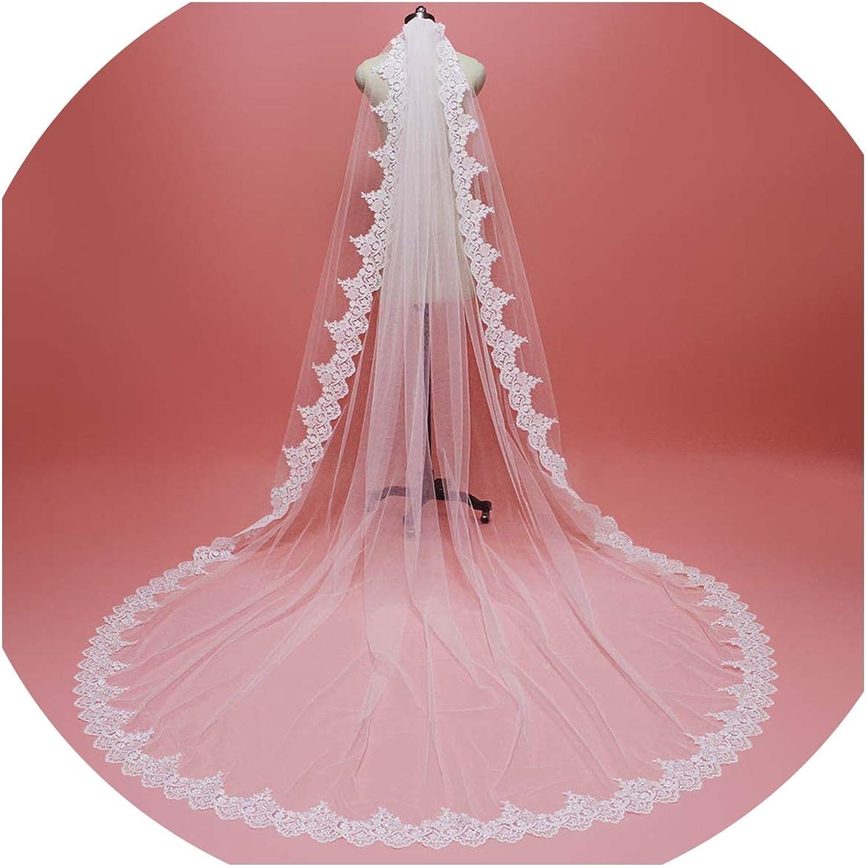 3M Lace Edge Bridal Veil with Comb Single Tier 3 M Wedding Veil 2019,Ivory,300cm