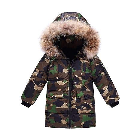 Abrigo cálido para niños, Chaqueta Invierno Cuello de Piel Abrigo de niños Camuflaje Parka con