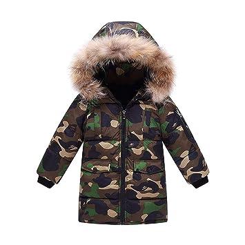 Abrigo cálido para niños, Chaqueta Invierno Cuello de Piel Abrigo de niños Camuflaje Parka con Capucha Plumas Chaqueta: Amazon.es: Deportes y aire libre