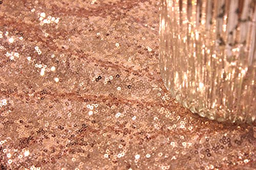 B-COOL 90inx132in Rectangle Rose Gold Sequin Tablecloth Sparkle Tablecloth Glitz Tablecloth Sequin Fabric Tablecloth - IT CAN NOT BE SEE THROUGH: 3MM round high density sequins material with mesh fabric backing. It won't drop the sequins. Pls Noted:The surface of fabric is SMOOTH which is not prickly. With a seam when the width is over 4ft. But it won't affect usage effect. High Workmanship: Elegant and beautiful sequin tablecloth round and rectangle glitz sequin table overlay sequin table linens. - tablecloths, kitchen-dining-room-table-linens, kitchen-dining-room - 615gXqej %2BL -