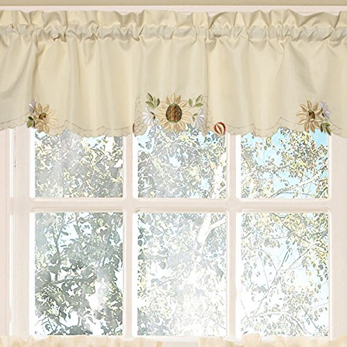 Sweet Home Collection Kitchen Window Tier, Swag, or Valance Curtain Treatment in Stylish and Unique Patterns and Designs for All Home Décor, Sunflower