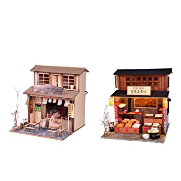 Amazon Fityle 1 24 Scale DIY Dollhouse Miniature Kit With Furniture Accessory For Birthday Gifts Barbecue Restaurant Tofu Shop Toys Games