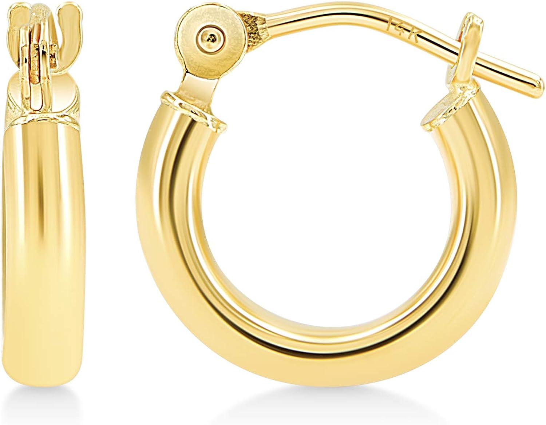 Kezef Creations 14k White or Yellow Gold 2mm Tube Hoop Earrings High Polish, 12mm - 60mm Diameter
