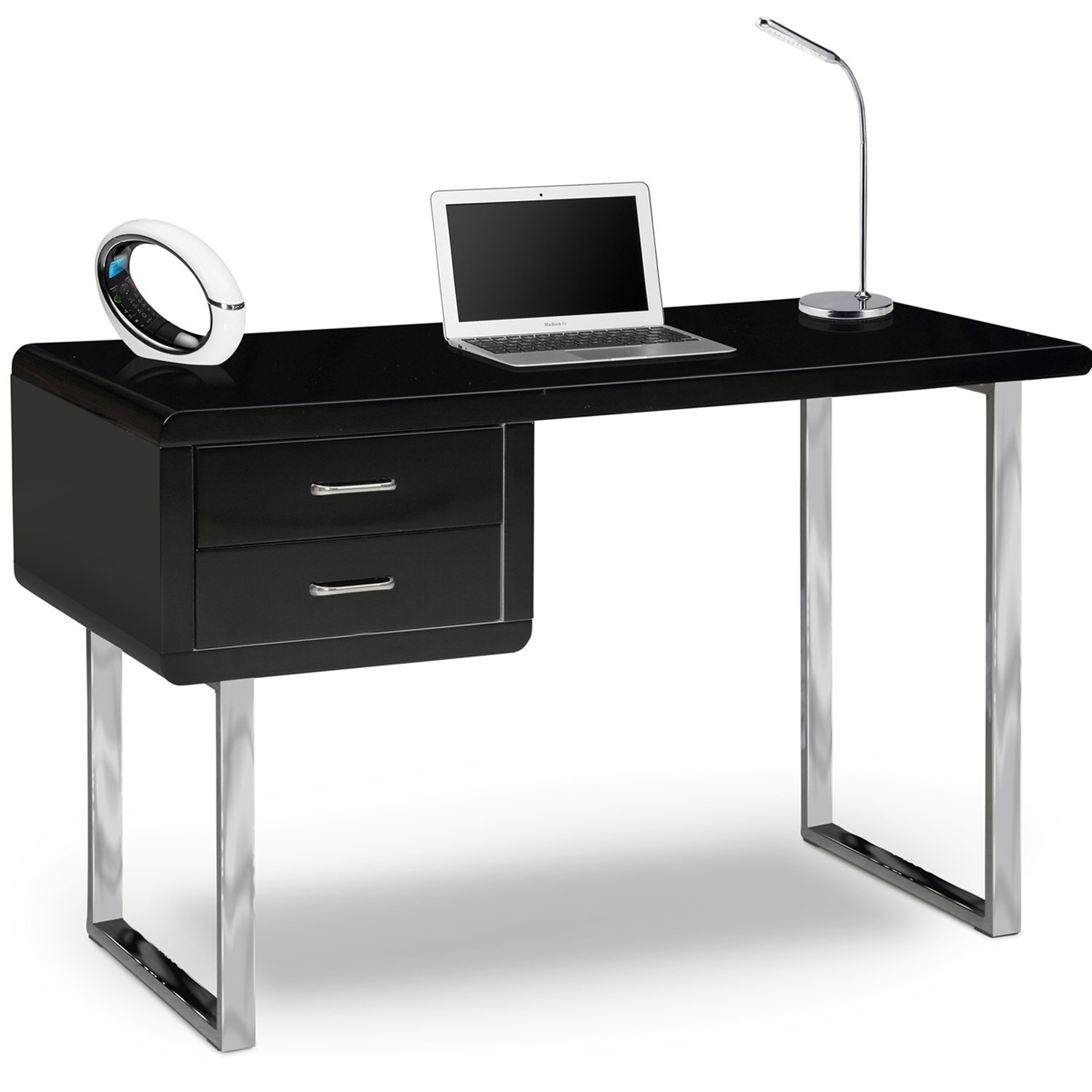 centurion supports harmonia gloss black with chrome legs drawer  - centurion supports harmonia gloss black with chrome legs drawercontemporary home office luxury computer desk amazoncouk kitchen  home