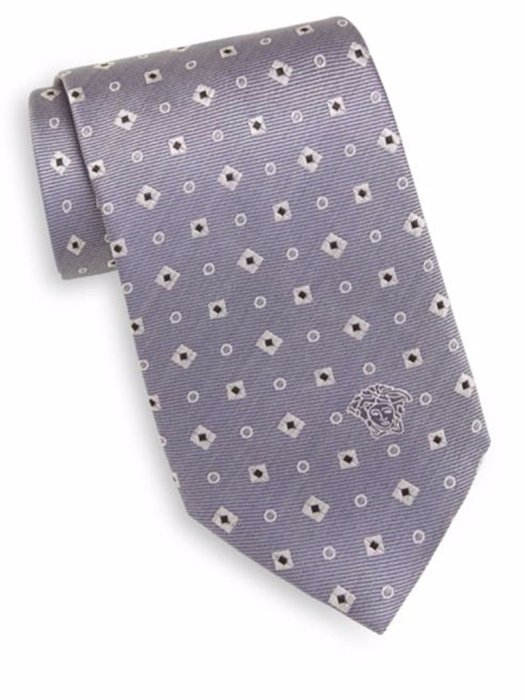 Versace Men's Silk Diamond & Square Foulard Tie, OS (Grey)