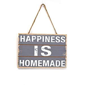 Scrafts Grey Wooden Happiness Decorative Wall Hanging for Home use/Kitchen use/Restaurant use/Hotel use LBH(inches)=7x5x3