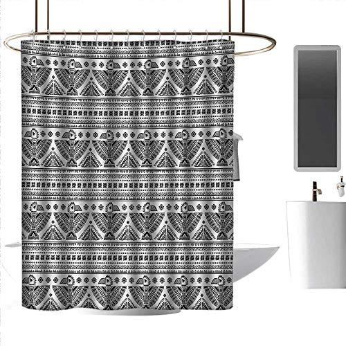 Shower Curtains Striped Native American,Ethnic Primitive Tribal Art Pattern with Eagle Symbol Mystic Culture Folk,Black White,W72 x L84,Shower Curtain for -