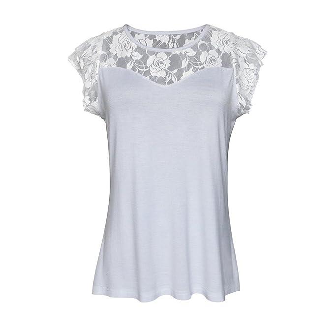 3fe7ad84fd03 Weant Abbigliamento Donna Tshirt,Maglietta Donne Manica Taglie Forti Spalla  Nuda Tops Pizzo Girocollo Manica
