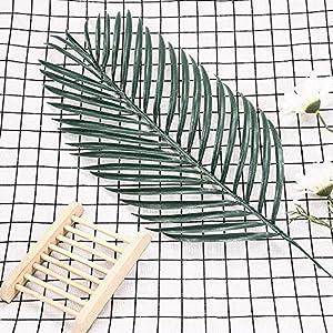 Vicanba Plastic Tree - 1pc Green Palm Leaves Plastic Silk Fake Plant Artificial Flowers Leaf Home Wedding Party Decoration - Jasmine Panel Bulk Elephant Grapes Kitchen Rectangular Gold Tropical Unpot 107