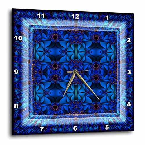 Fractals Art blue glowing psychedelic energy-Wall Clock, psychedelic wall art