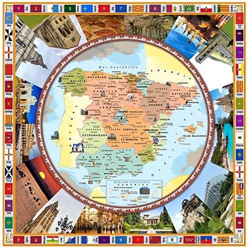 Hulehome Mantel Digital de Mesa Antimanchas Mapa españa 140x140 cm. - Especial Uso Exterior: Amazon.es: Hogar