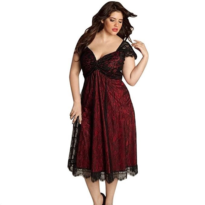 Womens Plus Size V-Neck Short Sleeve Party Prom Gown Formal Lace Long Dress Red