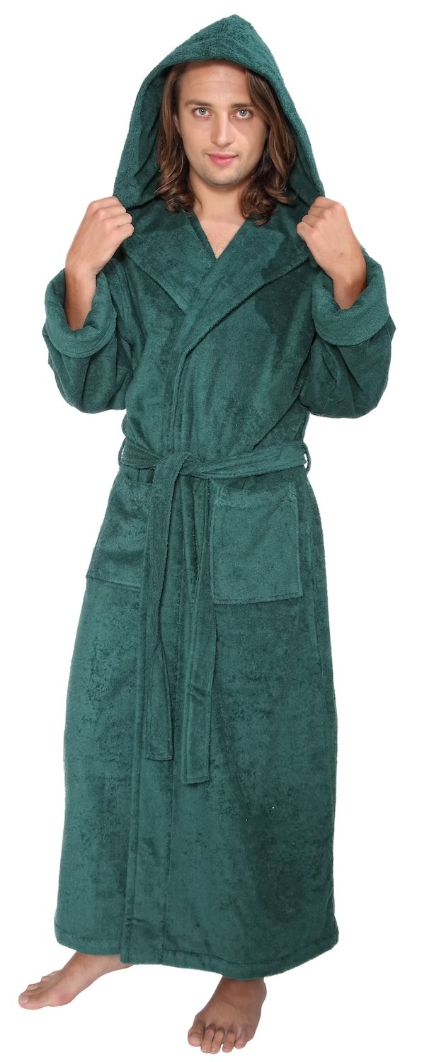 Arus Men's Hood'n Full Ankle Length Hooded Turkish Cotton Bathrobe Panarus