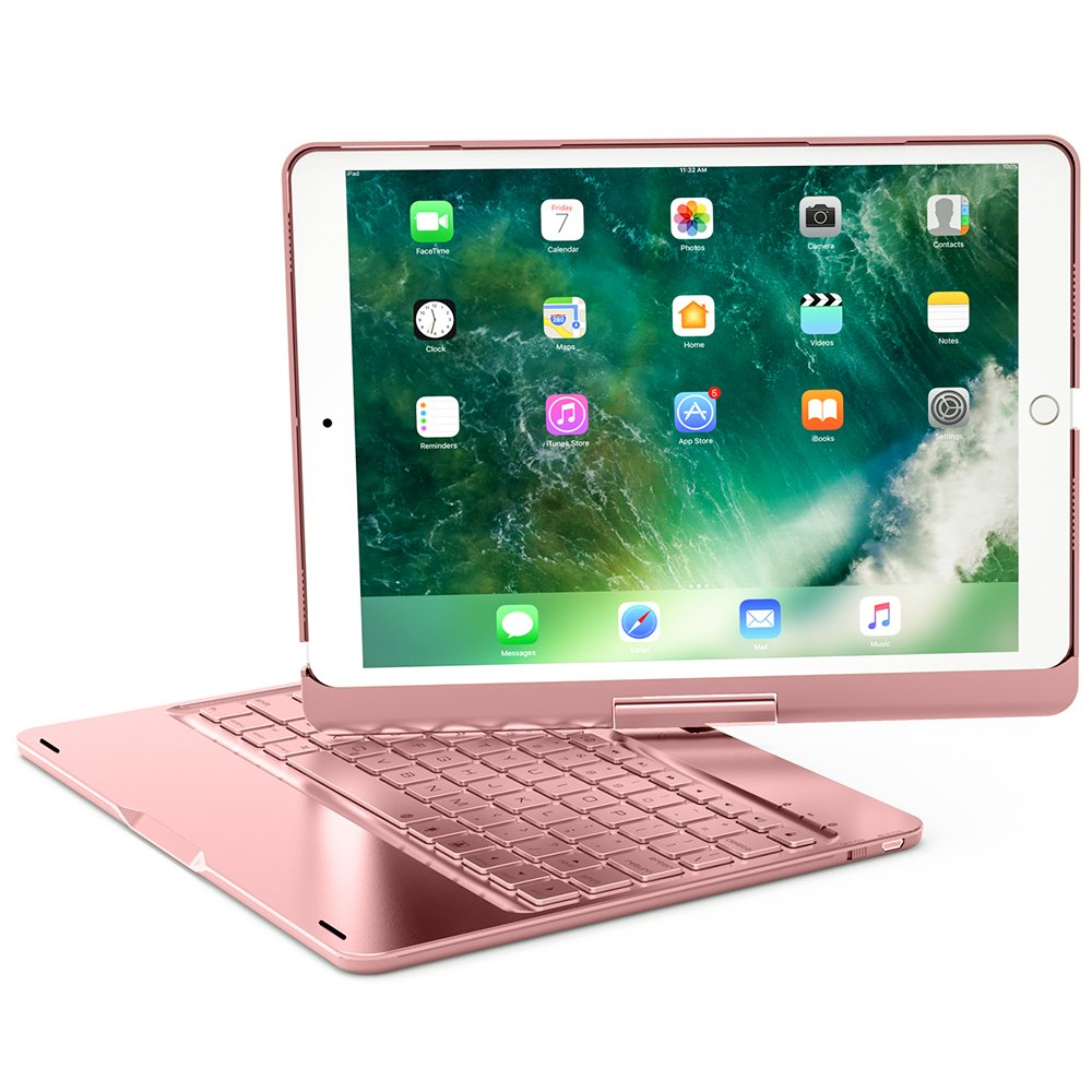 XFUNY iPad Pro 9.7 Keyboard Case Wireless Bluetooth Keyboard Full Protective Case With 360 ° Rotating And Seven-Color Backlight Slim Keyboard For iPad Pro 9.7 (Rose Gold)