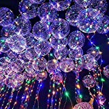 30 Pcs LED Balloons, Kicpot Transparent Light Up Party Balloons with 14in Towing Rod Colorful Warm Light Glow in The Dark Party Supplies