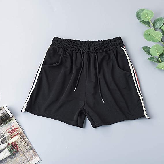 Amazon.com: MOSERIAN Womens Pants Striped Mid Waist Loose Shorts Drawstring Waist Ringer Shorts Pants: Clothing