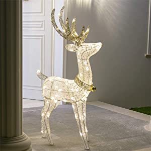 "EAMBRITE 48"" 70LT Pre-Lit Christmas Glittering Reindeer with Gold Jingle Bell and Twinkle Light Outdoor Holiday Mesh Standing Buck Deer Decorations for Home Lawn Yard Garden Indoor Outdoor Plug in"