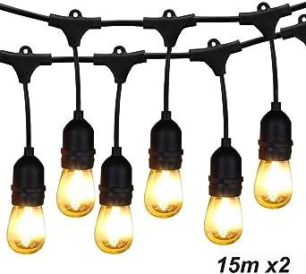 BRIMAX Luces de Cadena, Impermeable IP65,49Ft/15M, Guirnalda Luces Exterior Luminosas para Jardín Patio Fiesta, S14 E27 16pcs LED Filamento Bombilla (Blanco Cálido, S14 2x49ft/15cm): Amazon.es: Iluminación