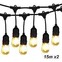 BRIMAX LED Cadena de Bombillas, E27 48FT IP65