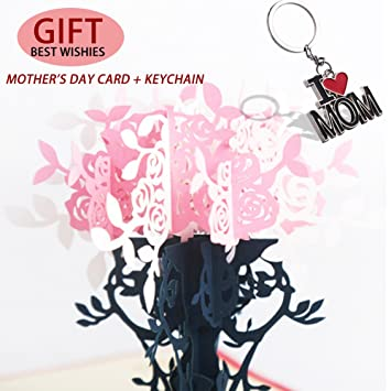 3D Pop Up Mothers Birthday Gift Cards And I Love Mom Key Chain Thanksgiving