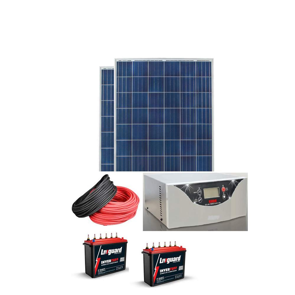 Waaree Solar Power Kit 2kw 2200va Exide Inverter X 1nos Waaree Pv Module 325watt X 2nos Livguard Solar Battery 150ah X 2nos Solar Cable 10m Red 10mblack Amazon In Garden