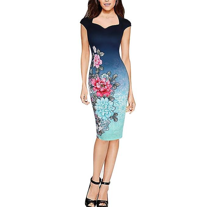 Dolamen Mujer Vestidos, V Neck Vintage y estilo retro, Slim Fit Rodilla-largo