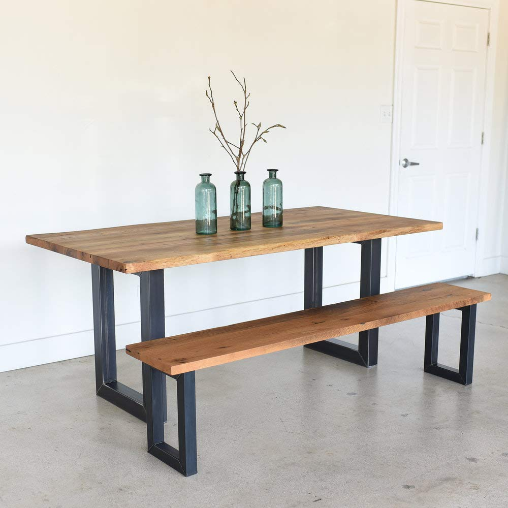 Amazon.com: Reclaimed Live Edge Dining Table with Steel Rectangle