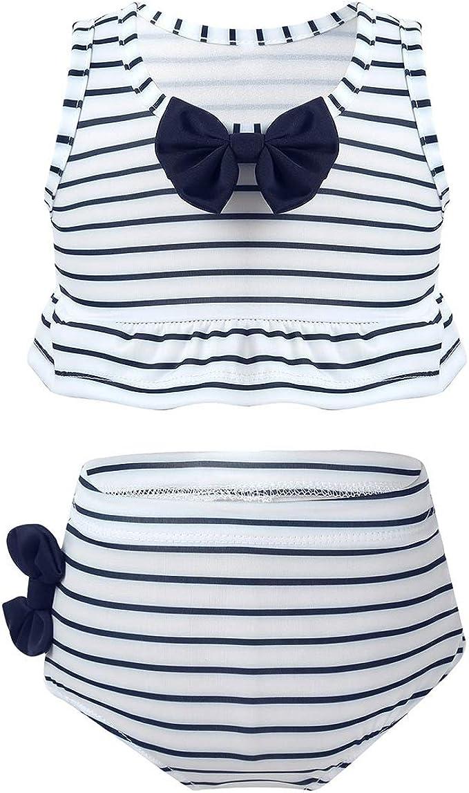 dPois Kinder M/ädchen Tankini Bikini Set Bademode Badekleidung Bikini Top Oberteil mit Badeshorts UV Schutz Sommer Swimwear
