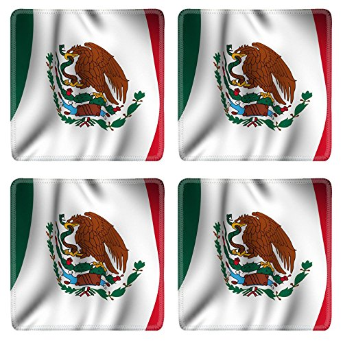 Liili Natural Rubber Square Coasters IMAGE ID: 3311885 Rendering of a waving flag of Mexico with accurate colors and design