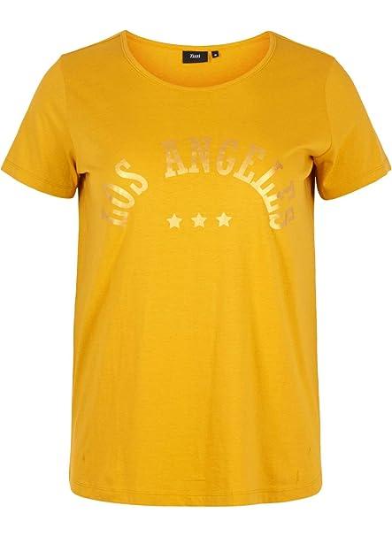 2188256b7e797b Zizzi Damen T-Shirt Kurzarm mit Aufdruck V-Ausschnitt