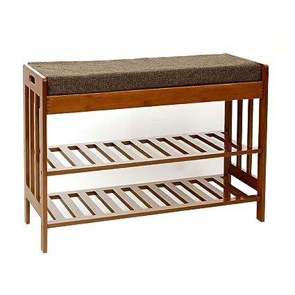 Amazon.com: WUFENG Footstool Shoe Shelf Rack Madera Maciza ...