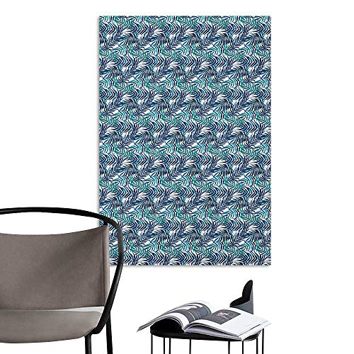 Waterproof Art Wall Paper Poster Palm Leaf Watercolor Pattern with Various Leaves Tropical Nature Inspired Navy Blue Sky Blue Turquoise Living Room Wall W16 x H20