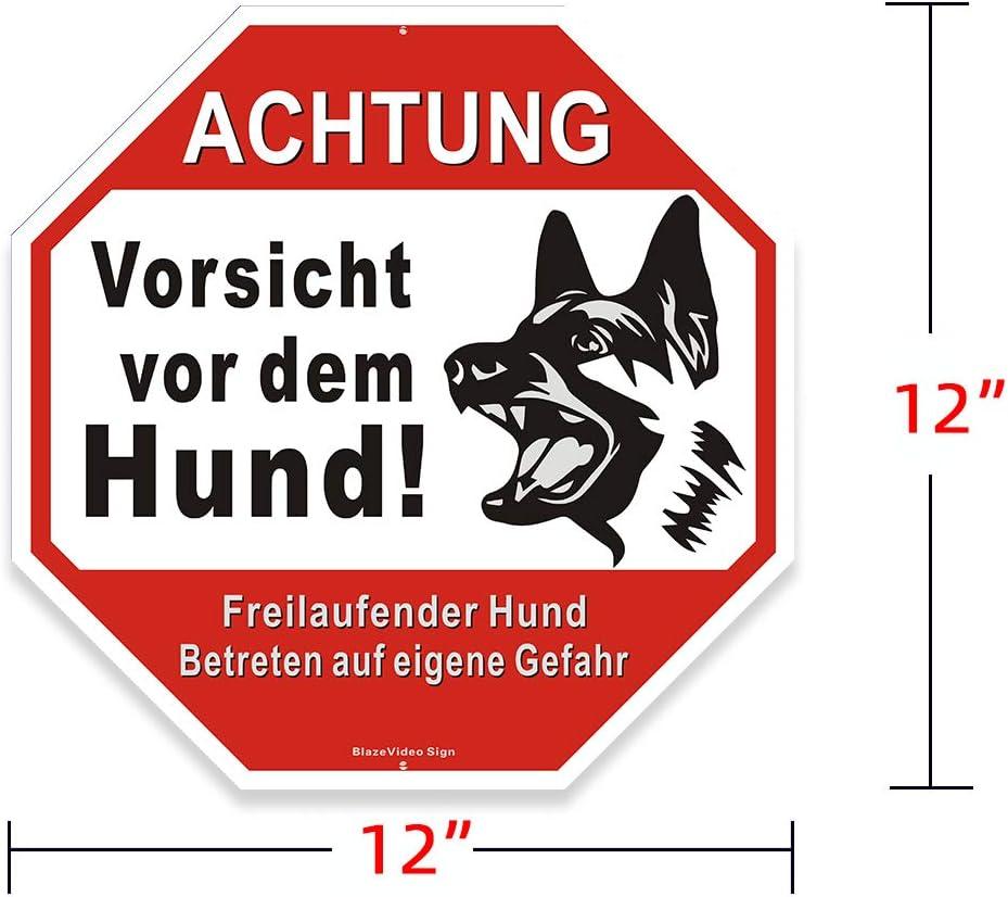 Lot de 2 panneaux davertissement avec inscription en allemand Vorsicht vor dem Hund 12 x 12
