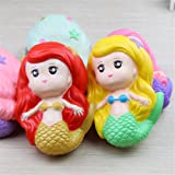 LAMAX Delicate Good Quality Mermaid Squishy Super Cute Girl Mermaid Slow Rising Soft Pinch Stress Reliever Hot Red Hair Mermaid Kid Toy for Girls