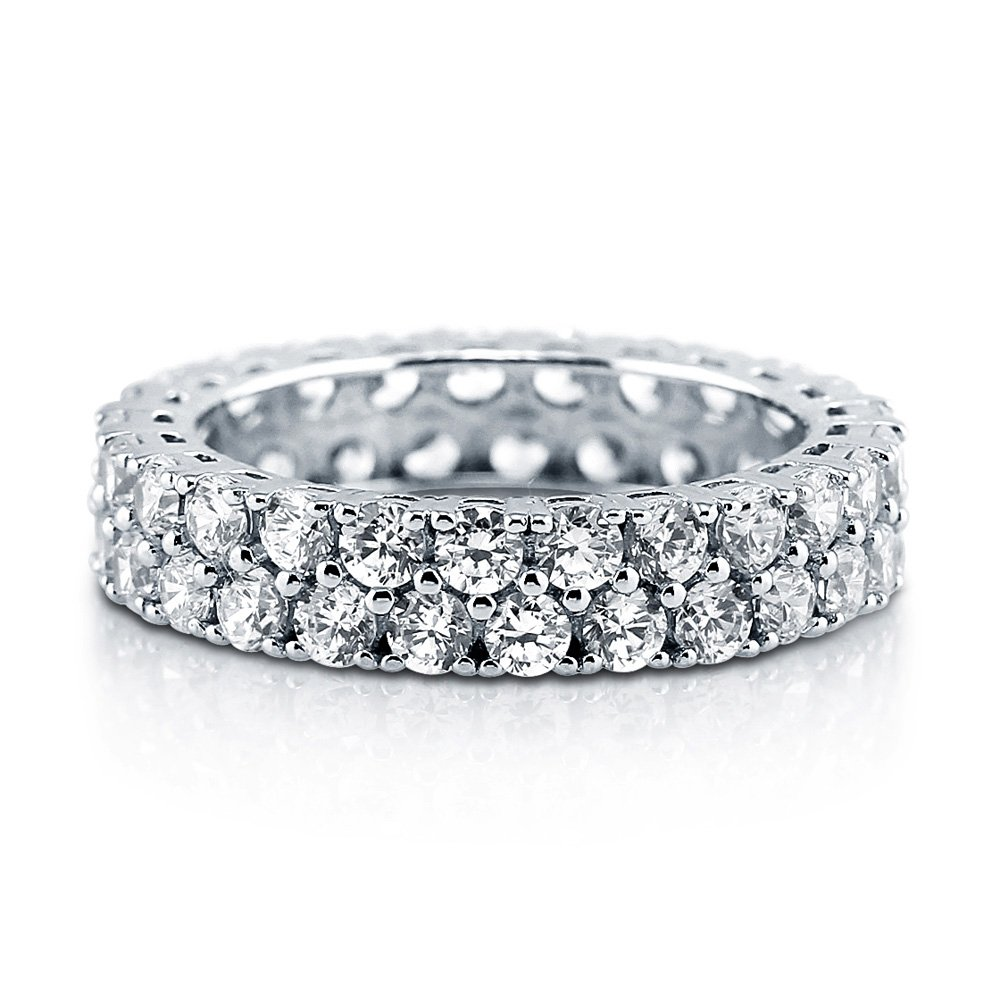 BERRICLE Rhodium Plated Silver Cubic Zirconia CZ Anniversary Stackable Eternity Ring Size 7 by BERRICLE (Image #1)