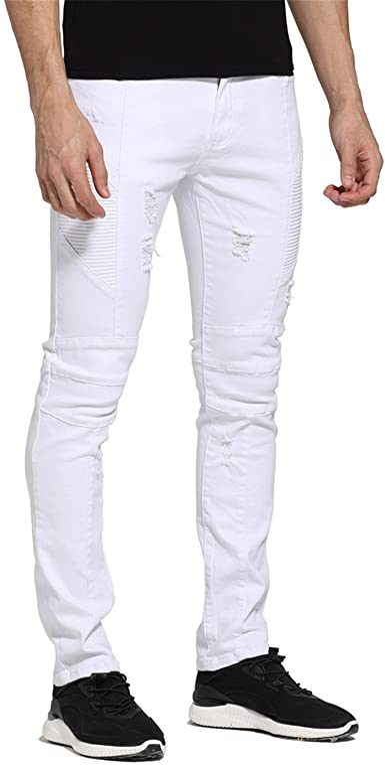 Amazon Com Ivan Johns Pantalones Para Hombre Jeans Diseno De Color Blanco Slim Fit Skinny Ripped Casual Jeans Motorista Para Hombres H1705 38 Blanco Clothing