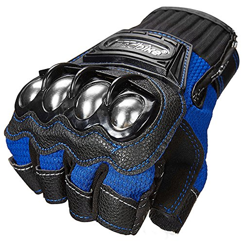 ILM Alloy Steel Fingerless Bicycle Motorcycle Motorbike Powersports Racing Gloves (XXL, Half Finger - BLUE)